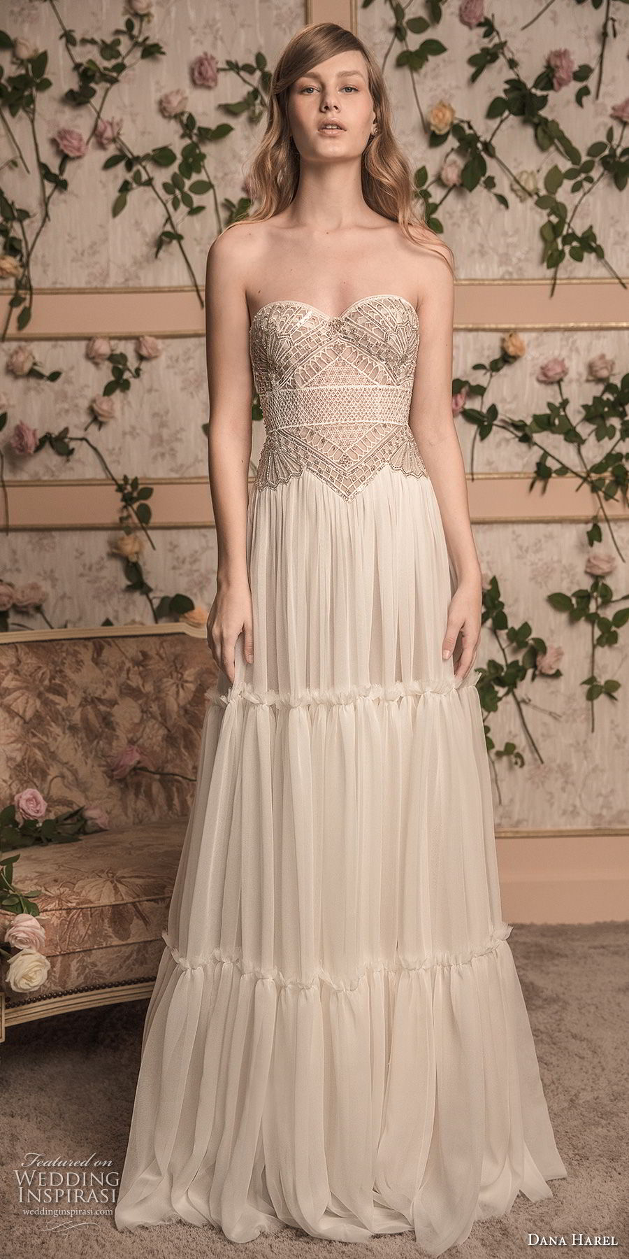 dana harel 2018 bridal strapless sweetheart neckline heavily embellished bodice bohemian a  line wedding dress sweep train (8) mv
