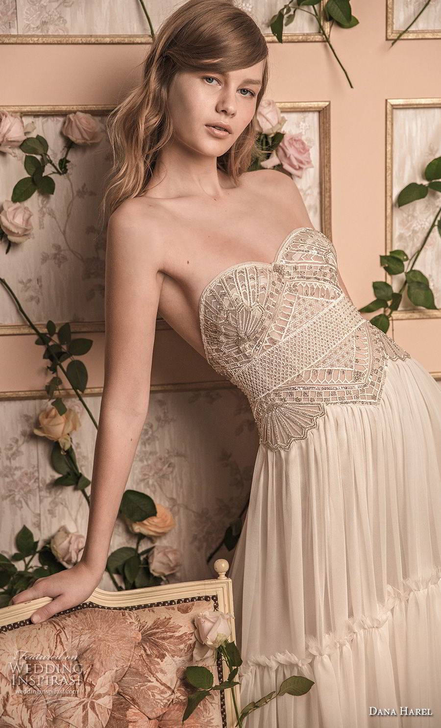 dana harel 2018 bridal strapless sweetheart neckline heavily embellished bodice bohemian a  line wedding dress sweep train (8) zv