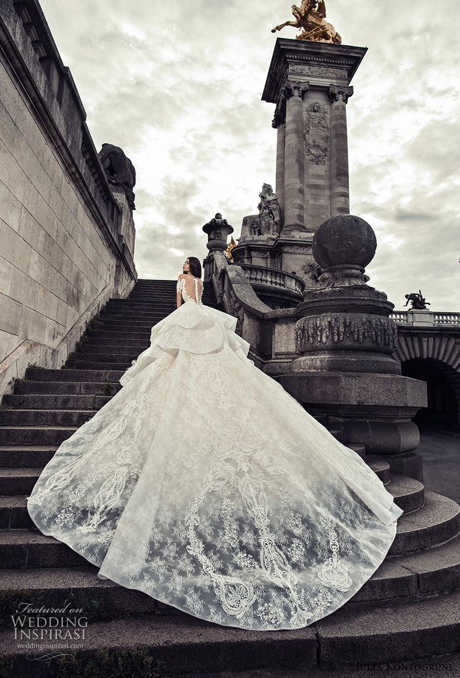 julia kontogruni 2018 bridal half sleeves off shoulder sweetheart neckline full embellishment peplum layered skirt ball gown wedding dress sheer button royal train (4) bv