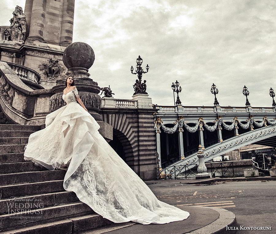 julia kontogruni 2018 bridal half sleeves off shoulder sweetheart neckline full embellishment peplum layered skirt ball gown wedding dress sheer button royal train (4) mv