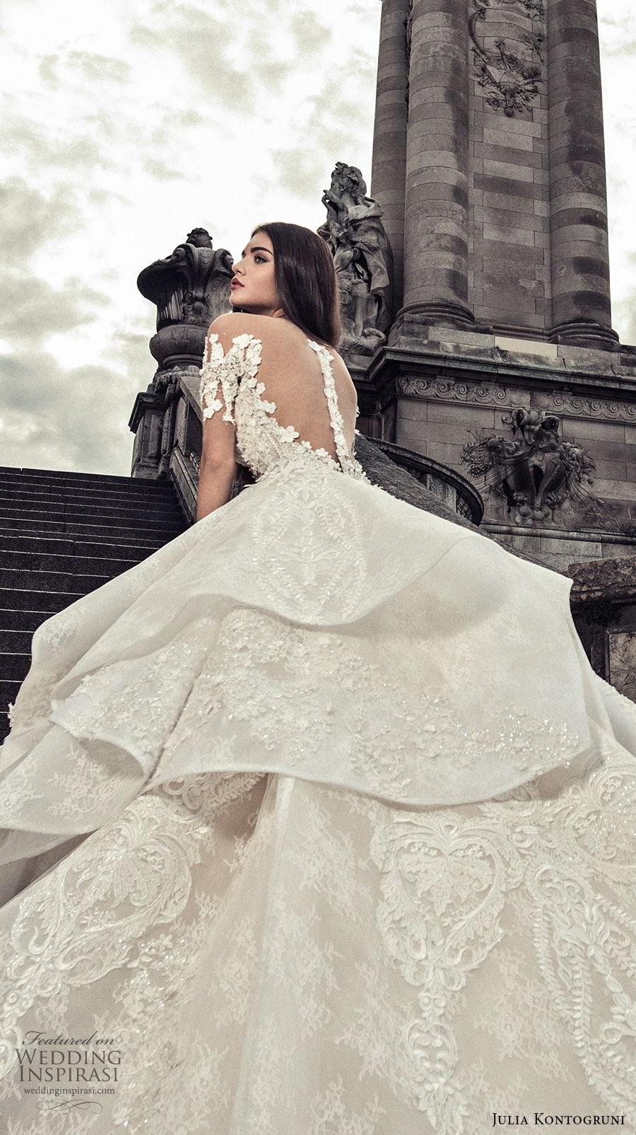 julia kontogruni 2018 bridal half sleeves off shoulder sweetheart neckline full embellishment peplum layered skirt ball gown wedding dress sheer button royal train (4) zbv