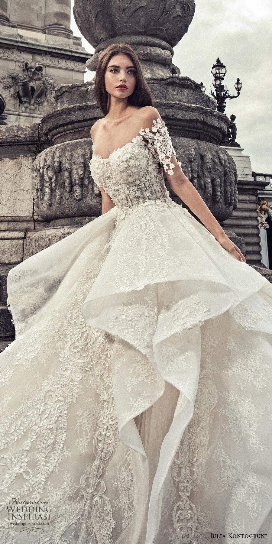 julia kontogruni 2018 bridal half sleeves off shoulder sweetheart neckline full embellishment peplum layered skirt ball gown wedding dress sheer button royal train (4) zv