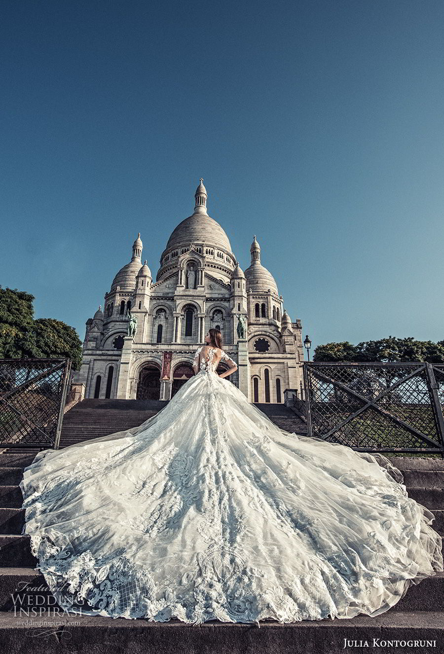 julia kontogruni 2018 bridal half sleeves off shoulder sweetheart neckline full embellishment princess ball gown wedding dress sheer lace back royal train (1) bv