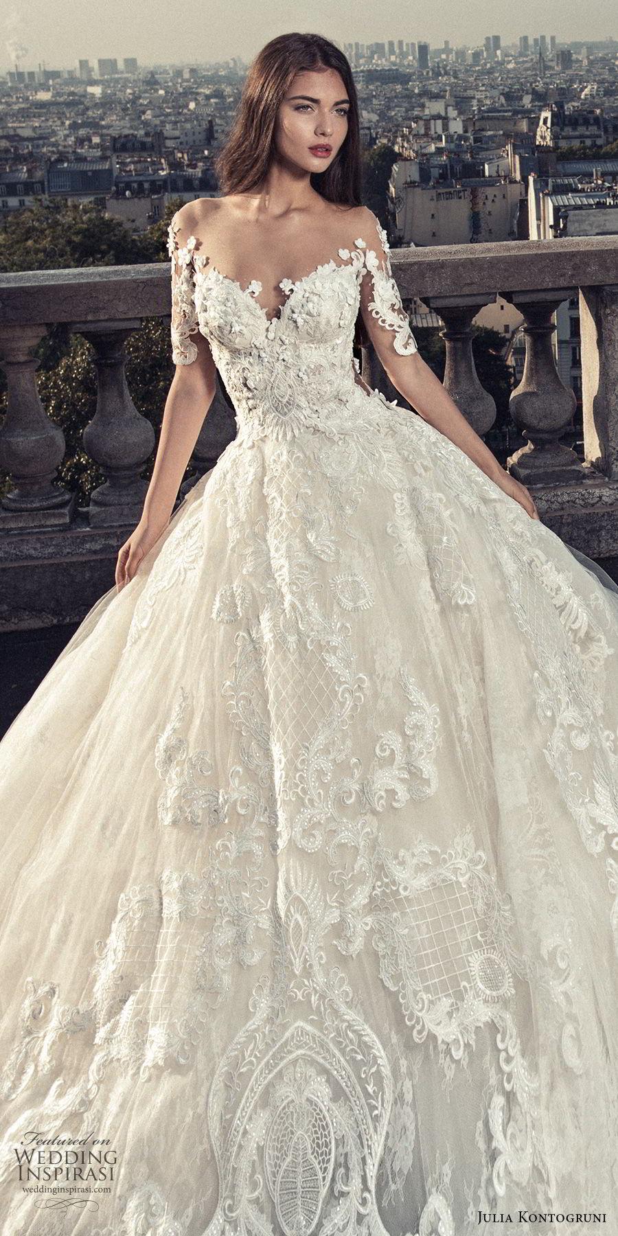 julia kontogruni 2018 bridal half sleeves off shoulder sweetheart neckline full embellishment princess ball gown wedding dress sheer lace back royal train (1) zv