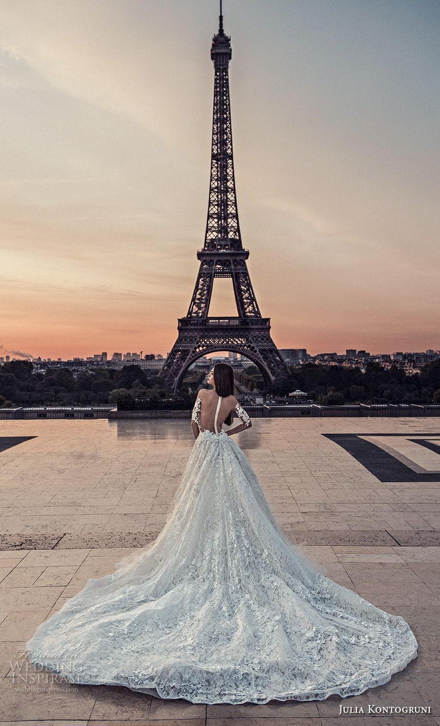 julia kontogruni 2018 bridal half sleeves off shoulder sweetheart neckline full embellishment romantic princess a  line wedding dress sheer button back chapel train (5) bv