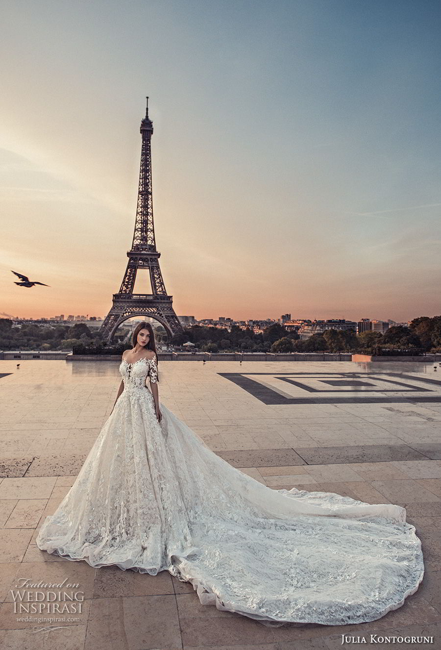 julia kontogruni 2018 bridal half sleeves off shoulder sweetheart neckline full embellishment romantic princess a  line wedding dress sheer button back chapel train (5) mv