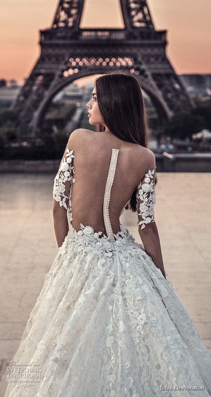 julia kontogruni 2018 bridal half sleeves off shoulder sweetheart neckline full embellishment romantic princess a  line wedding dress sheer button back chapel train (5) zbv