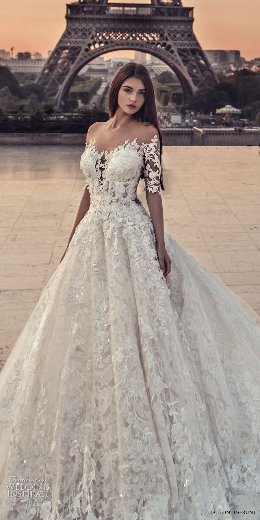 julia kontogruni 2018 bridal half sleeves off shoulder sweetheart neckline full embellishment romantic princess a  line wedding dress sheer button back chapel train (5) zv
