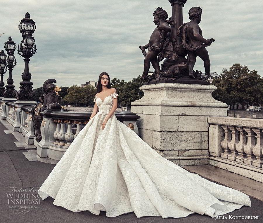 julia kontogruni 2018 bridal off the shoulder sweetheart neckline princess ball gown wedding dress sheer button back royal train (3) mv