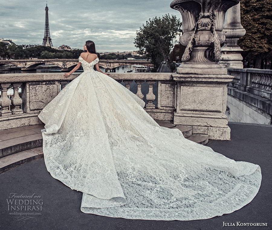 julia kontogruni 2018 bridal off the shoulder v neck full embellishment princess ball gown wedding dress cathedral train (6) bv