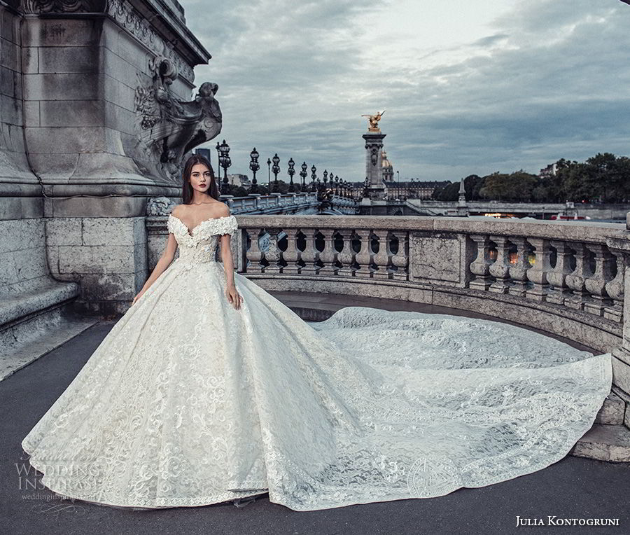 julia kontogruni 2018 bridal off the shoulder v neck full embellishment princess ball gown wedding dress cathedral train (6) mv