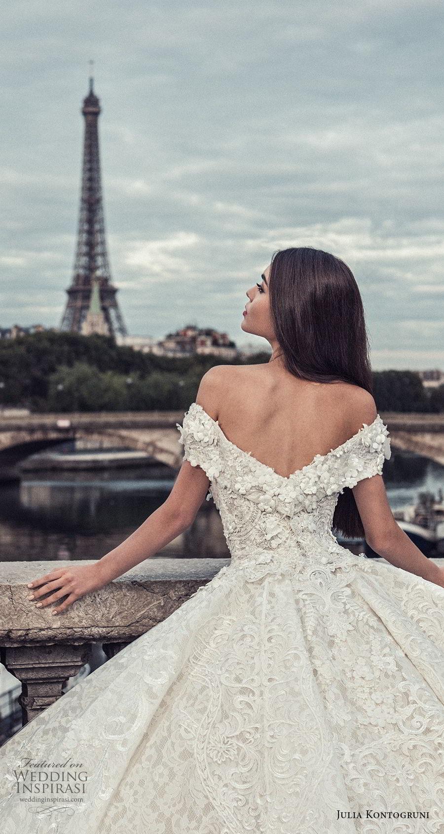 julia kontogruni 2018 bridal off the shoulder v neck full embellishment princess ball gown wedding dress cathedral train (6) zbv