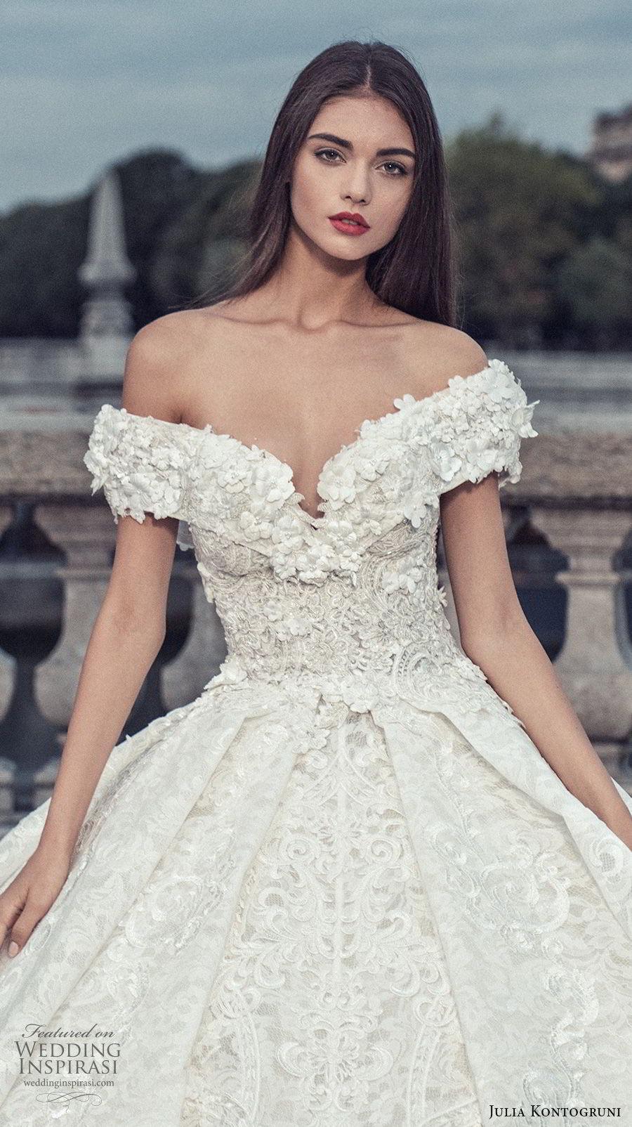 julia kontogruni 2018 bridal off the shoulder v neck full embellishment princess ball gown wedding dress cathedral train (6) zv
