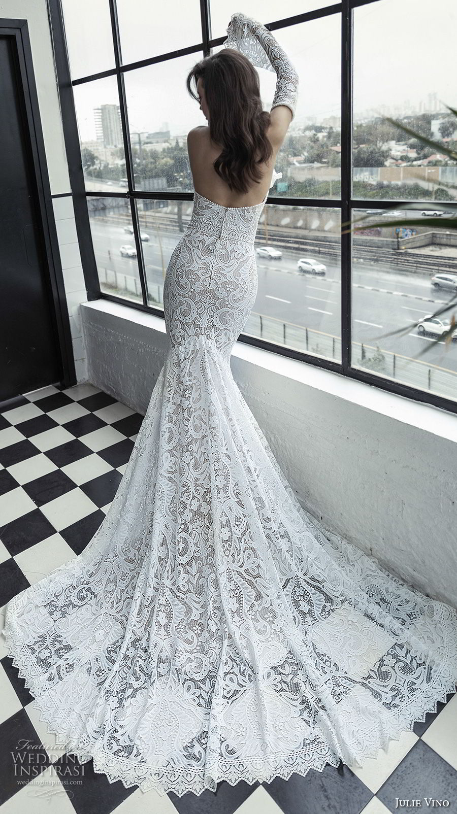 julie vino 2019 romanzo bridal long bell sleeves strapless sweetheart neckline full embellishment sexy elegant fit and flare wedding dress chapel train (5) bv
