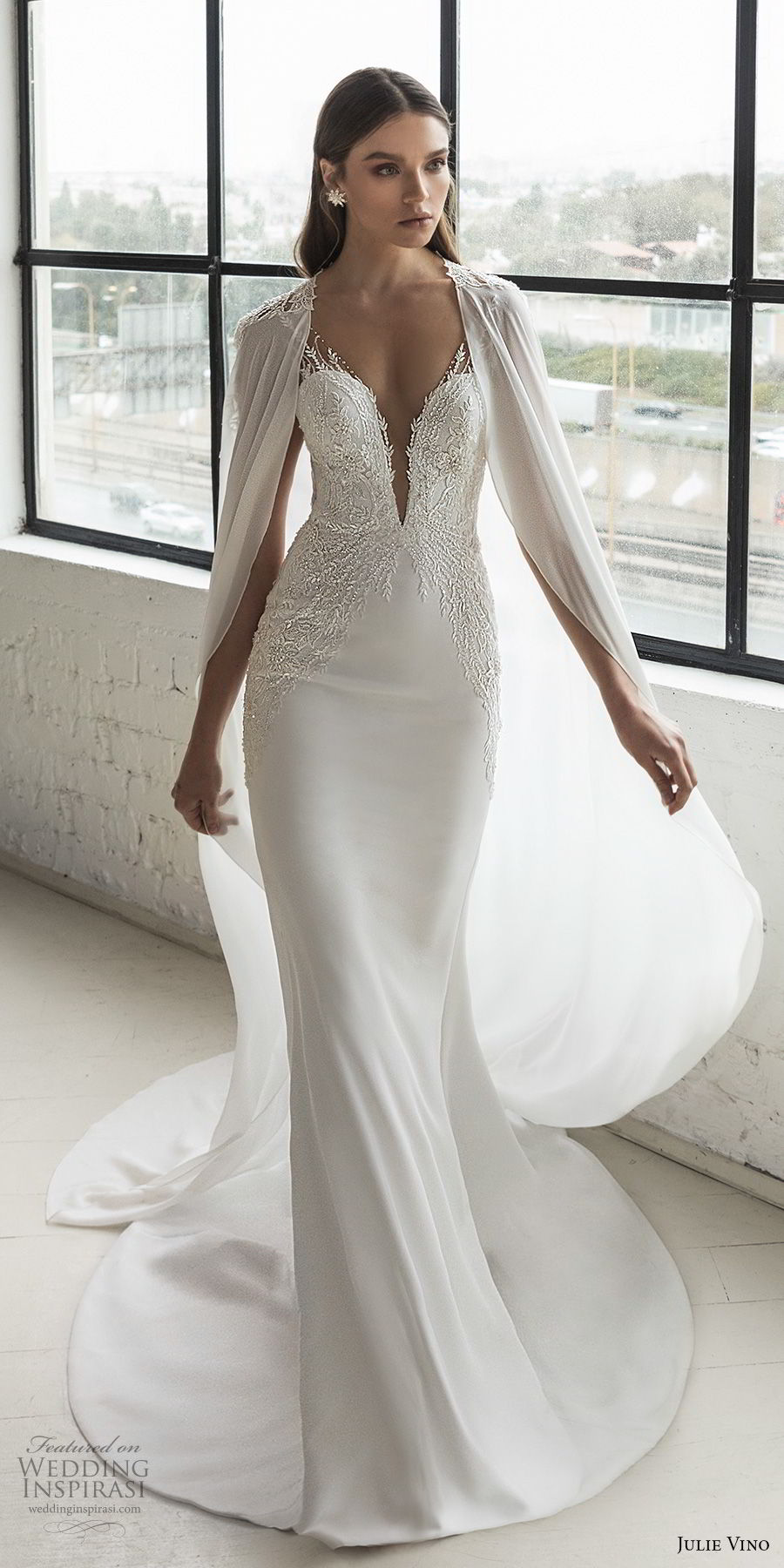 julie vino 2019 romanzo bridal sleeveless deep plunging sweetheart neckline heavily embellished bodice romantic fit and flare wedding dress with cape low v back chapel train (8) mv