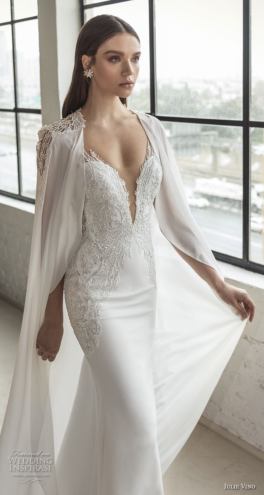 julie vino 2019 romanzo bridal sleeveless deep plunging sweetheart neckline heavily embellished bodice romantic fit and flare wedding dress with cape low v back chapel train (8) zv