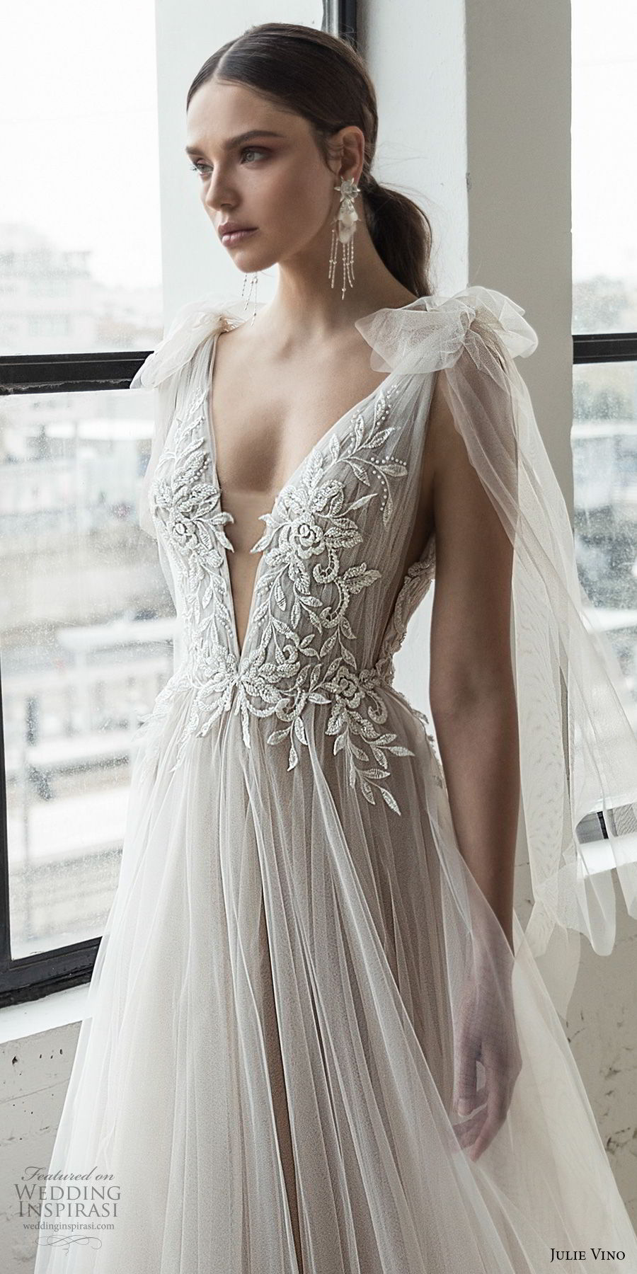 julie vino 2019 romanzo bridal sleeveless deep plunging sweetheart neckline heavily embellished bodice tulle skirt a  line wedding dress chapel train (13) zv