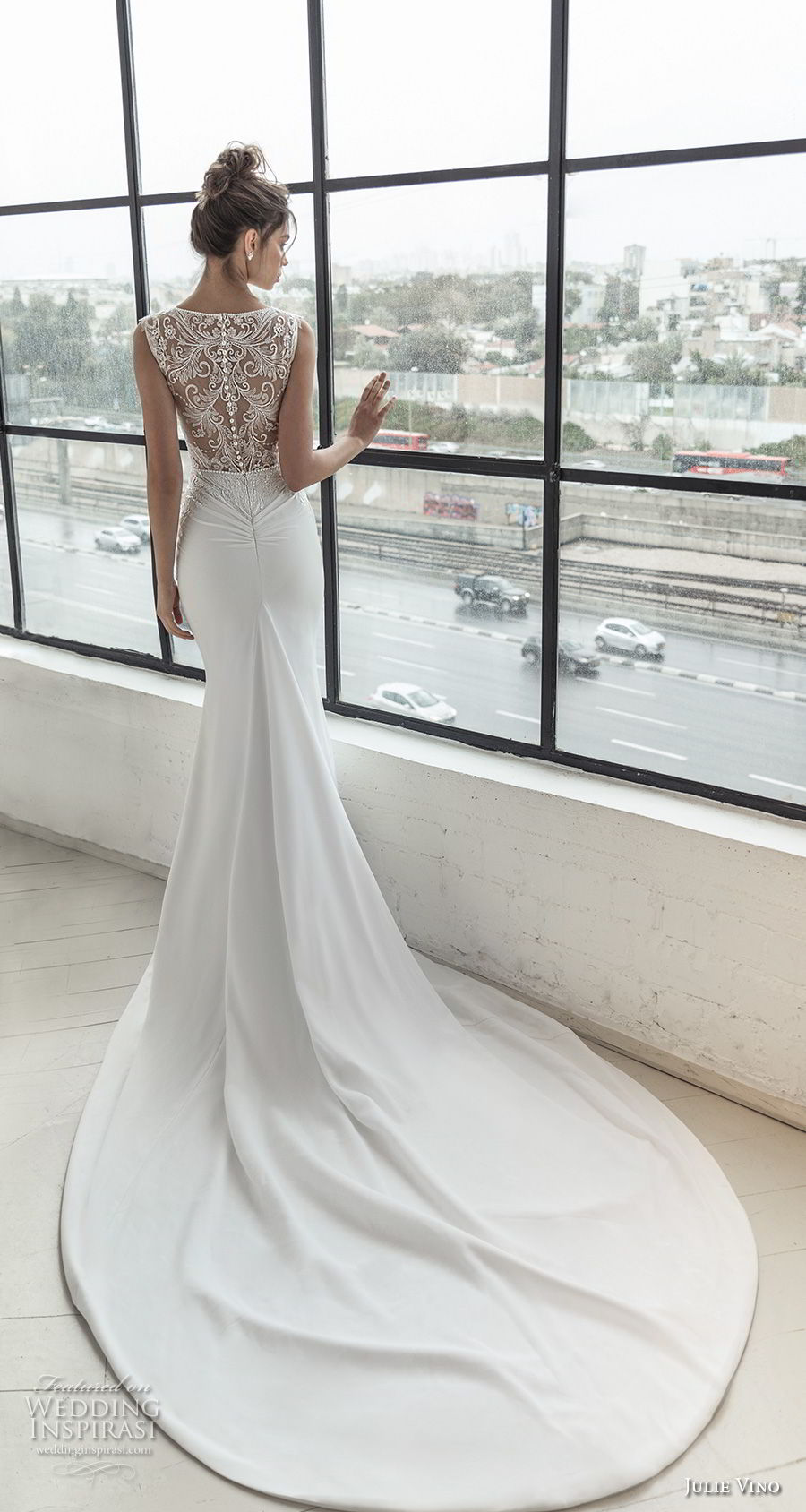 julie vino 2019 romanzo bridal sleeveless illusion bateau sweetheart neckline heavily embellished bodice elegan fit and flare wedding dress sheer lace chapel train (11) bv