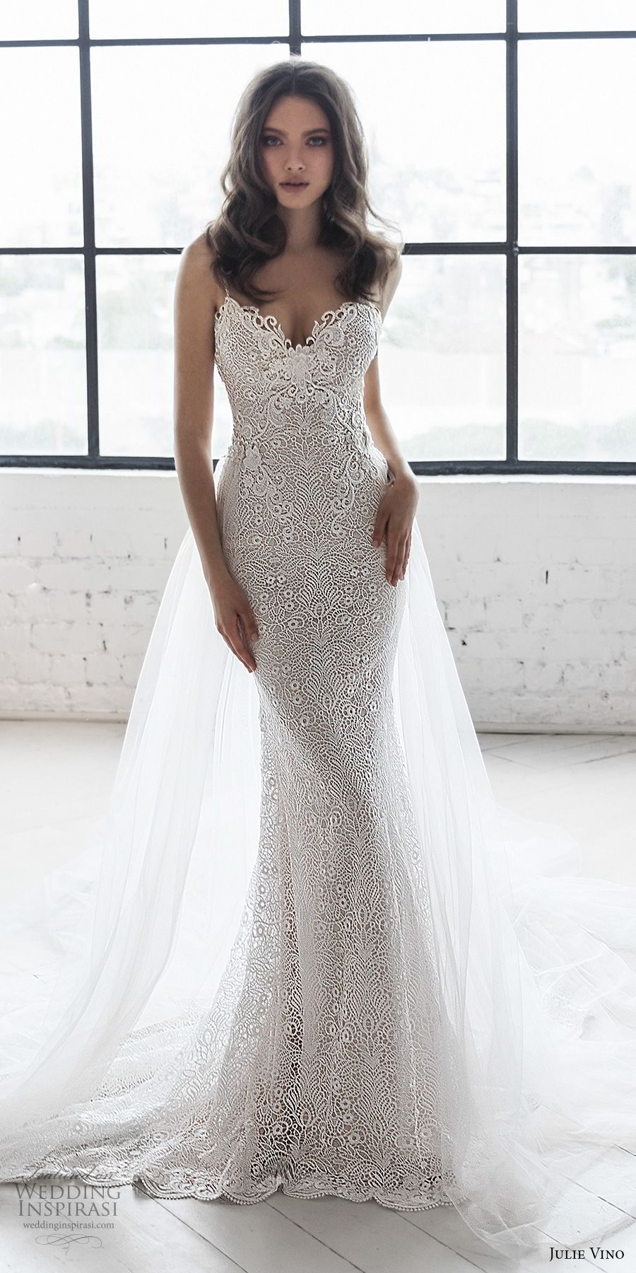 julie vino 2019 romanzo bridal sleeveless spaghetti strap sweetheart neckline full embellishment elegant fit and flare wedding dress a  line overskirt open back chapel train (9) mv