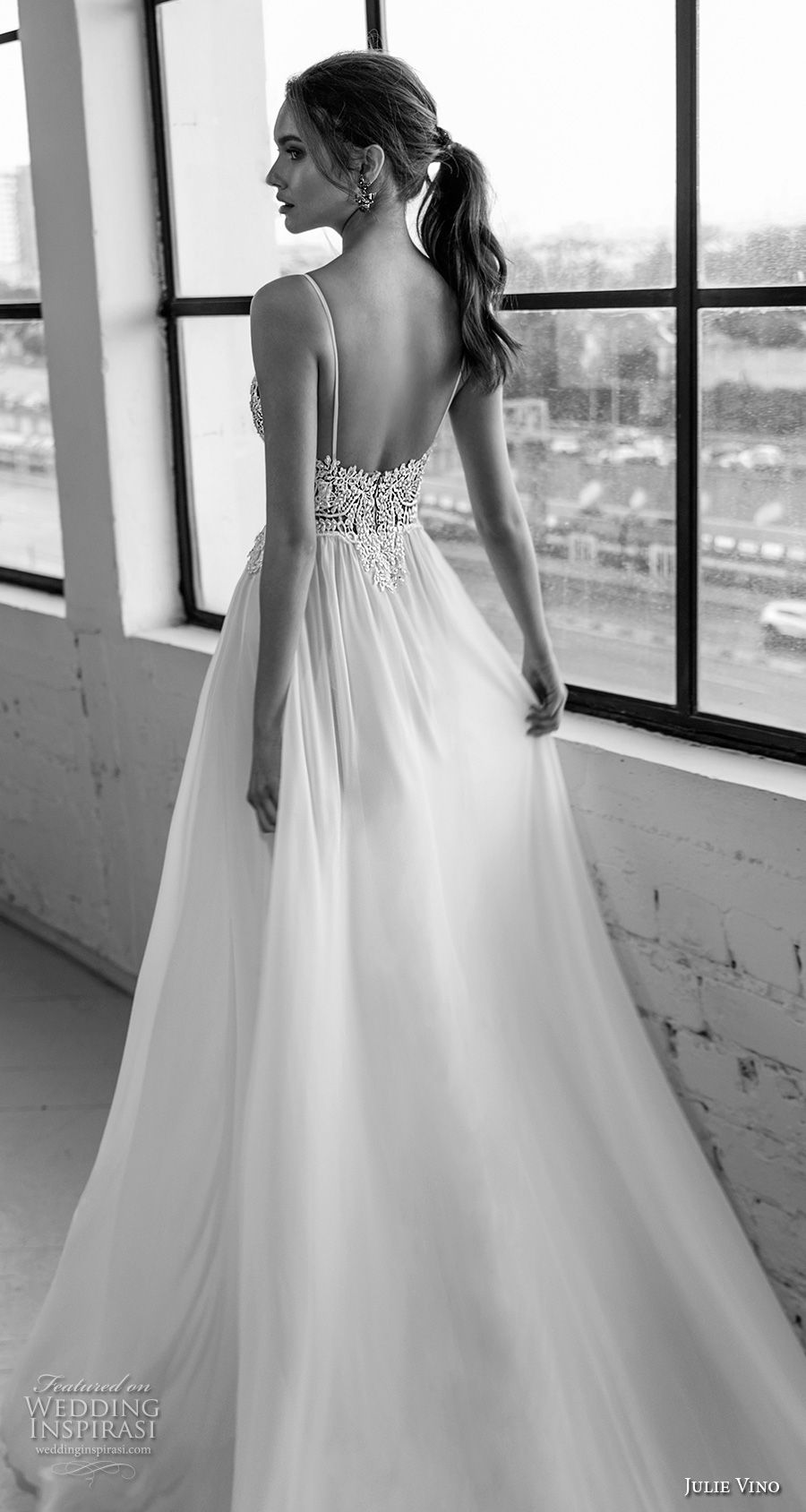 julie vino 2019 romanzo bridal spaghetti strap deep plunging sweetheart neckline heavily embellished bodice high slit romantic sexy soft a  line wedding dress open back sweep train (1) zbv