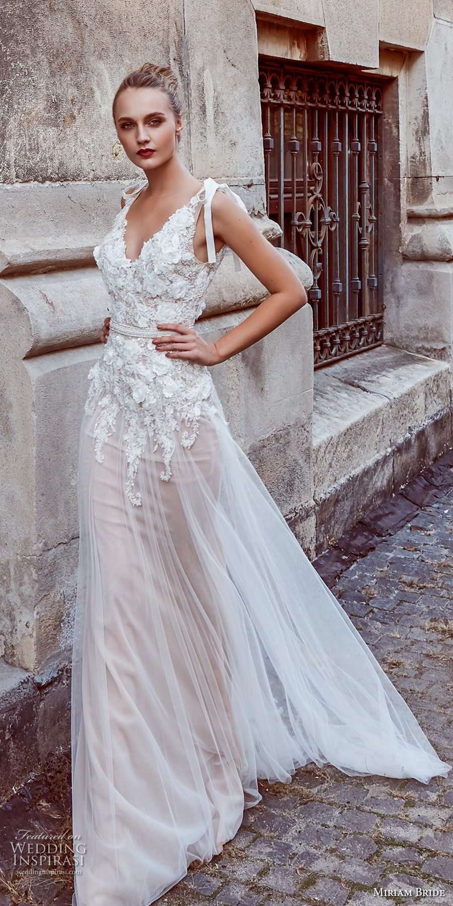 miriams bride 2018 bridal sleeveless v neck heavily embellished bodice romantic soft a line wedding dress open back sweep train (8) mv