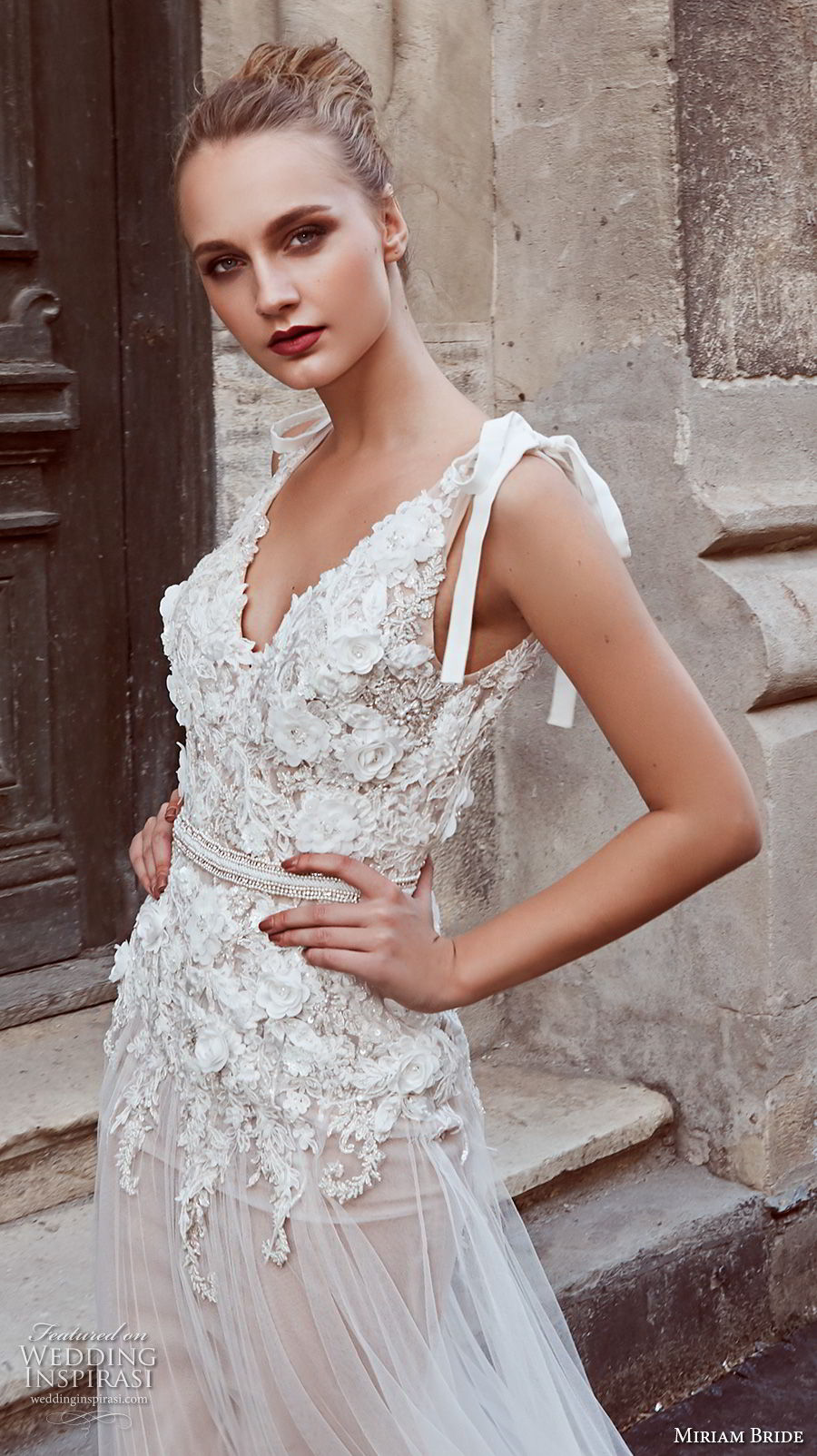 miriams bride 2018 bridal sleeveless v neck heavily embellished bodice romantic soft a line wedding dress open back sweep train (8) zv