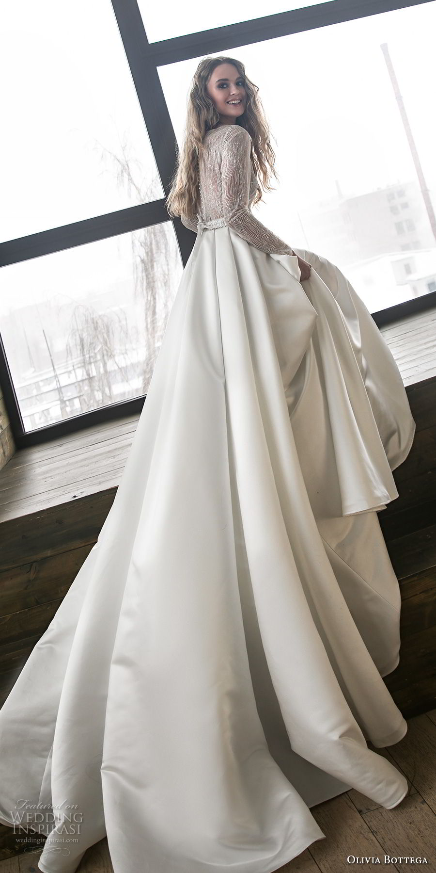 olivia bottega 2018 bridal long sleeves bateau neckline heavily embellished bodice satin skirt elegant a line wedding dress chapel train (9) bv
