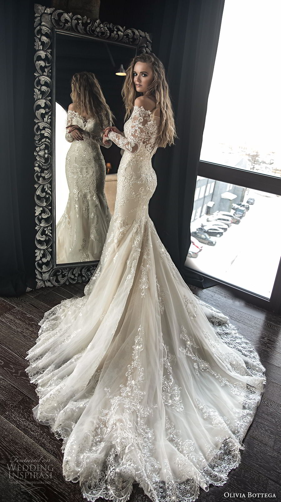 olivia bottega 2018 bridal long sleeves off rhe shoulder sweetheart neckline heavily embellished bodice elegant mermaid wedding dress sheer lace button back chapel train (4) bv