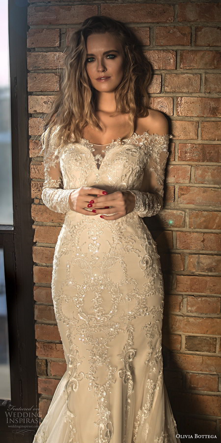 olivia bottega 2018 bridal long sleeves off rhe shoulder sweetheart neckline heavily embellished bodice elegant mermaid wedding dress sheer lace button back chapel train (4) zv