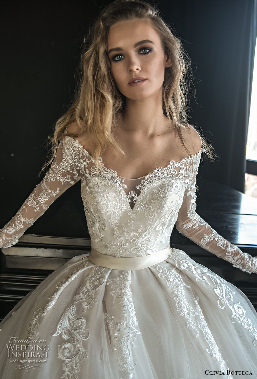 olivia bottega 2018 bridal long sleeves off rhe shoulder sweetheart neckline heavily embellished bodice princess ball gown wedding dress sheer lace button back royal train (4) zv