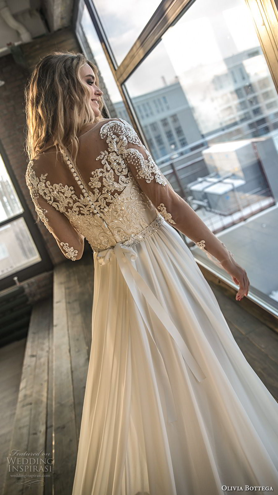 olivia bottega 2018 bridal long sleeves sweetheart neckline heavily embellished bodice side slit elegant a line wedding dress lace button back chapel train (3) bv