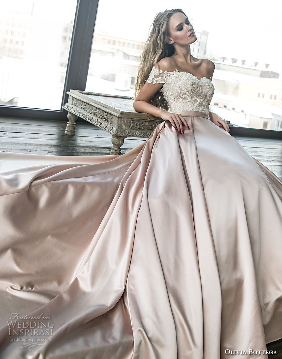 olivia bottega 2018 bridal off the shoulder sweetheart neckline heavily embellished bodice satin skirt romantic a line wedding dress chapel train (10) mv