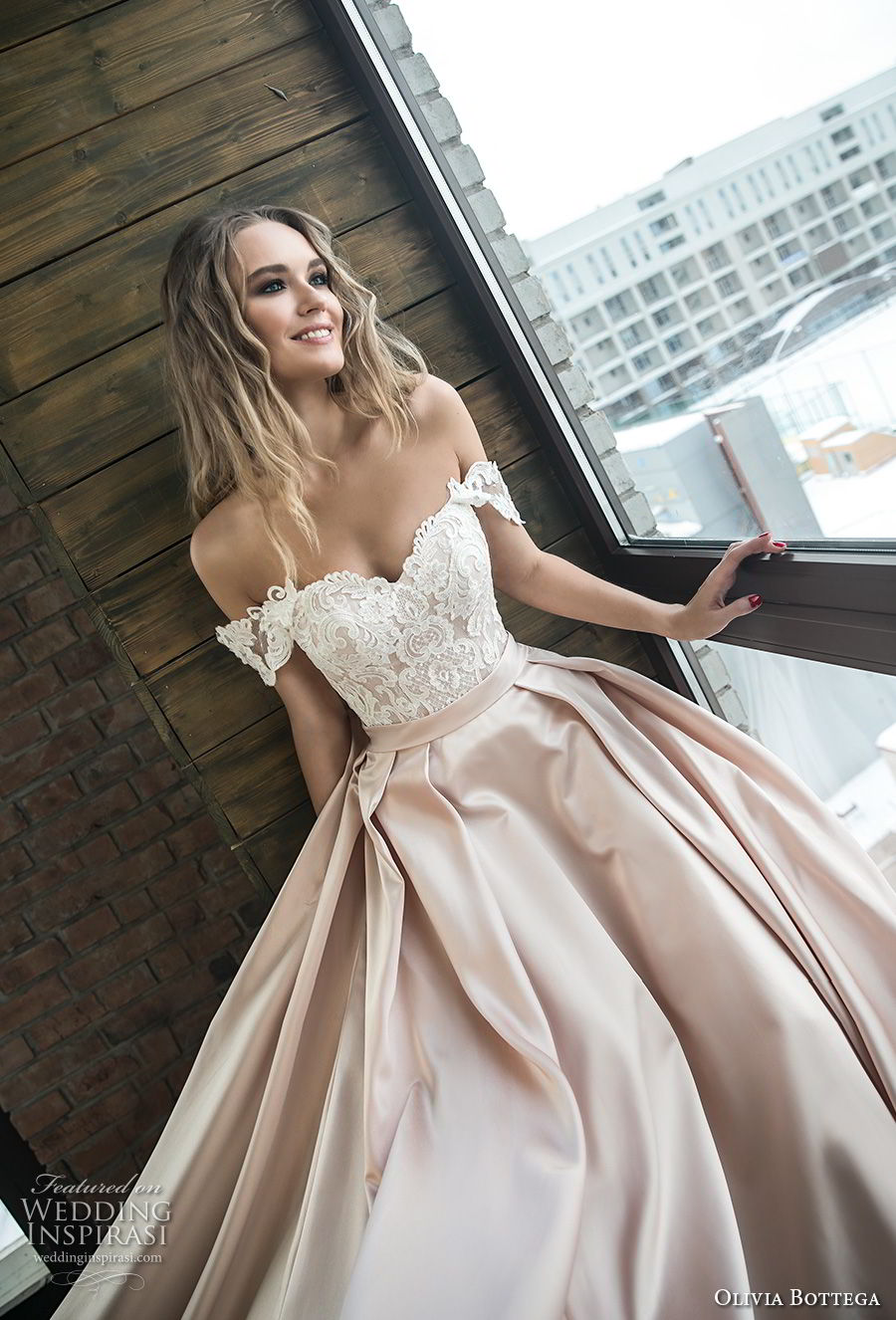 olivia bottega 2018 bridal off the shoulder sweetheart neckline heavily embellished bodice satin skirt romantic a line wedding dress chapel train (10) zv