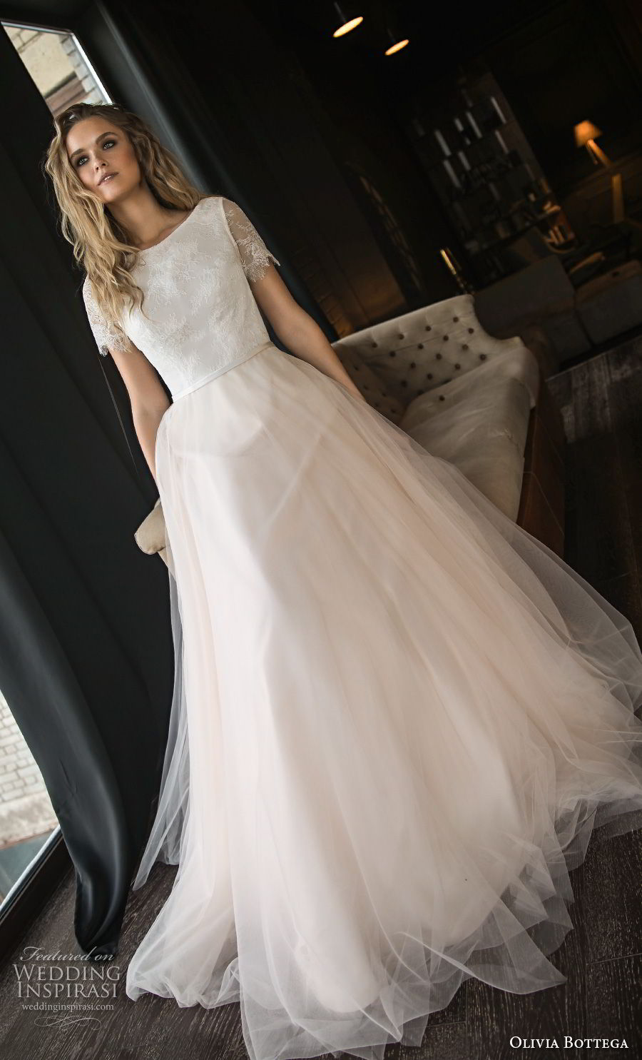 olivia bottega 2018 bridal short sleeves bateau neckline lightly embellished bodice tulle skirt romantic blush a line wedding dress chapel train (13) mv