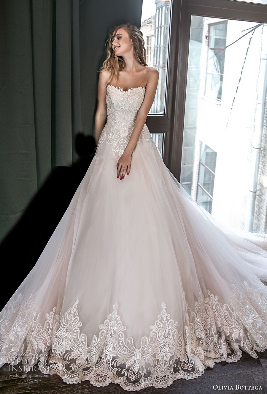olivia bottega 2018 bridal strapless sweetheart neckline heavily embellished bodice romantic blush a line wedding dress chapel train (8) mv