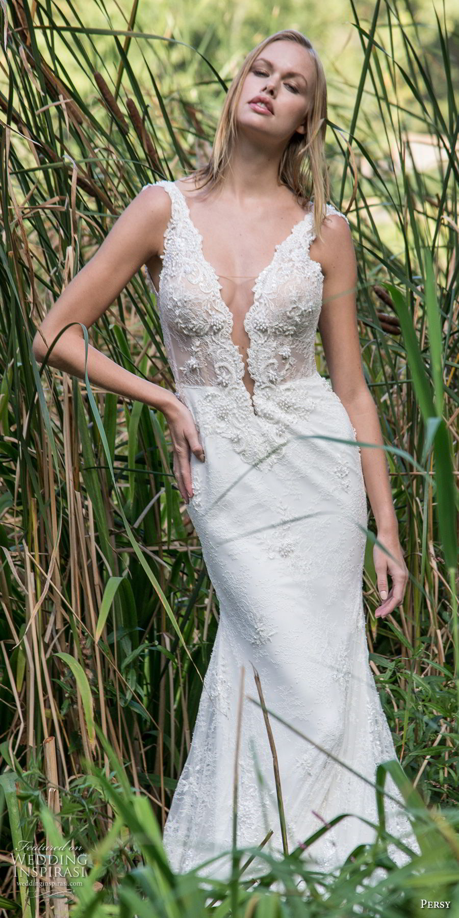 persy fall 2018 bridal sleeveless with strap deep pluning v neck heavily embellished bodice elegant sexy fit and flare wedding dress sweep train (3) mv