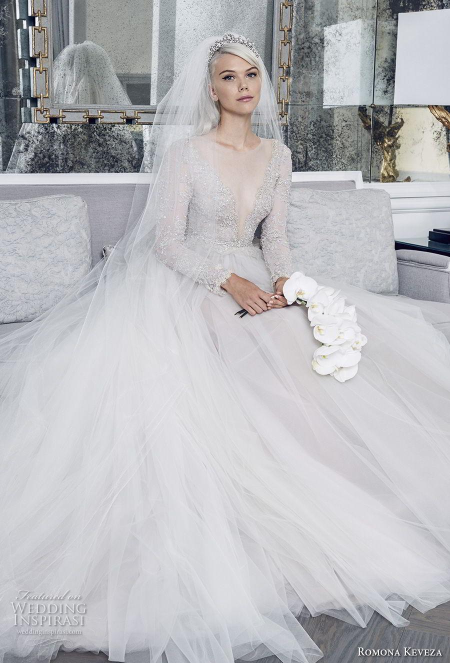romona keveza fall 2018 bridal long sleeves illusion jewel deep v neck heavily embellished bodice tulle skirt princess romantic a  line wedding dress (2) mv