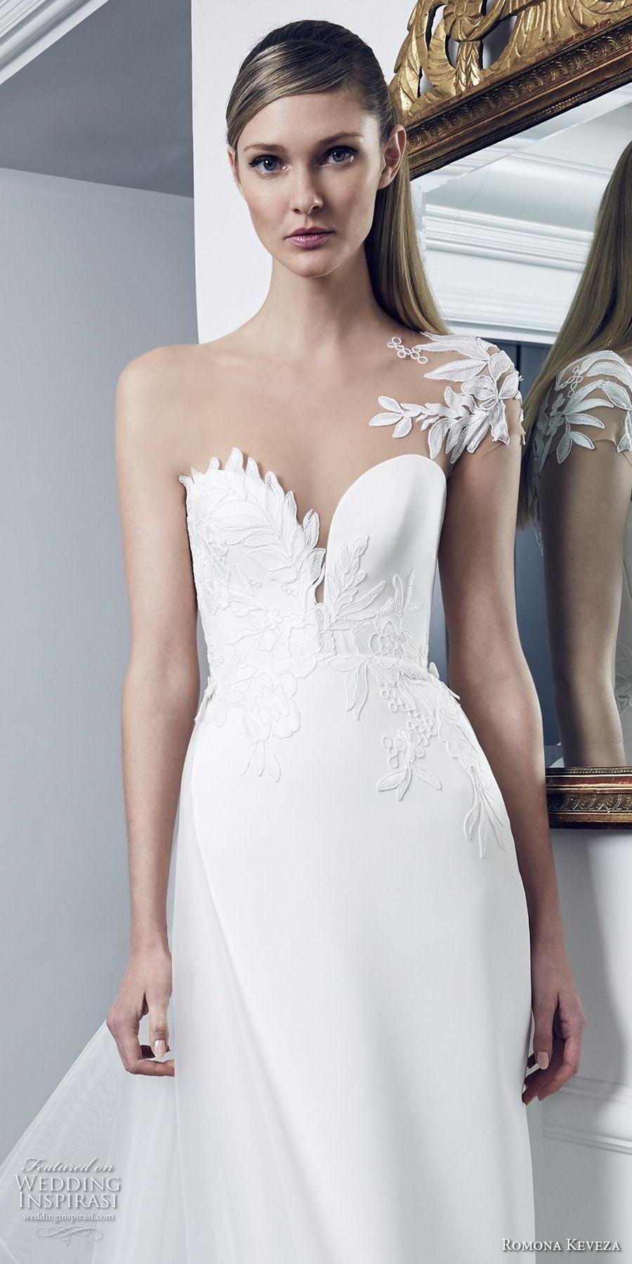 romona keveza fall 2018 bridal one shoulder sleeve deep sweetheart neckline lightly embellised bodice elegant sheath wedding dress chapel train (4) zv