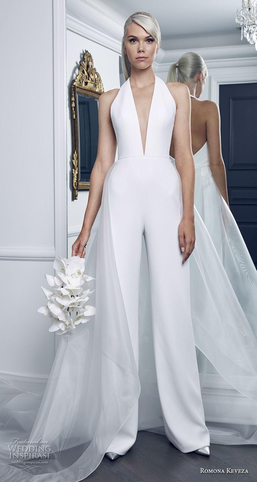 romona keveza fall 2018 bridal sleeveless halter deep v neck simple clean modern jumper wedding dress chapel train (9) mv