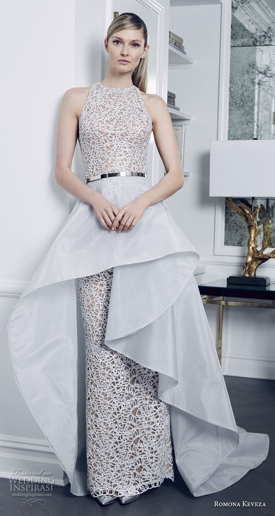 romona keveza fall 2018 bridal sleeveless halter jewel neck full embellishment elegant glamorous peplum sheath wedding dress chapel train (8) mv