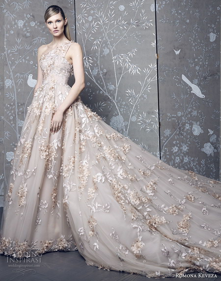 romona keveza fall 2018 bridal sleeveless one shoulder full embellishment romantic princess blush ball gown a  line wedding dress royal train (1) mv
