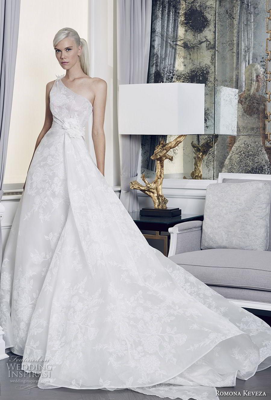 romona keveza fall 2018 bridal sleeveless one shoulder light embellishment romantic elegant romantic ball gown a  line wedding dress long train (7) mv