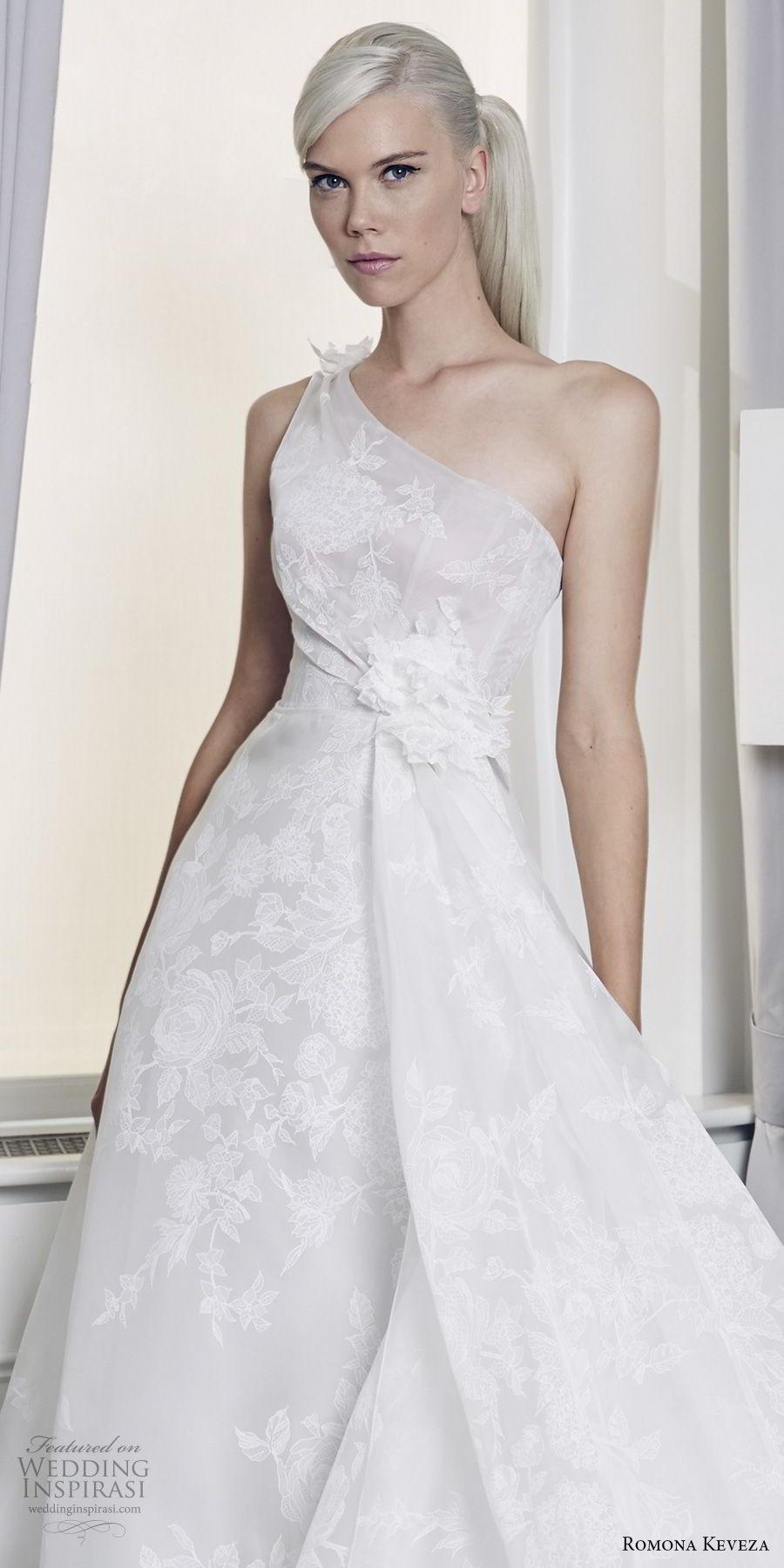 romona keveza fall 2018 bridal sleeveless one shoulder light embellishment romantic elegant romantic ball gown a  line wedding dress long train (7) zv