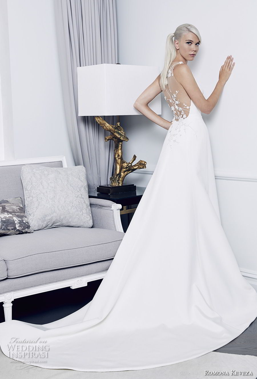 romona keveza fall 2018 bridal sleeveless simple clean elegant a  line wedding dress sheer lace back chapel train (5) bv mv