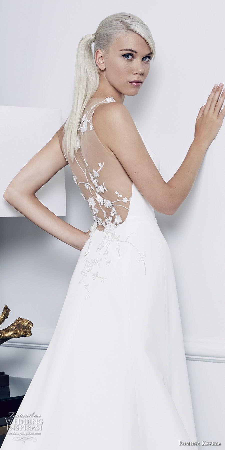 romona keveza fall 2018 bridal sleeveless simple clean elegant a  line wedding dress sheer lace back chapel train (5) zbv