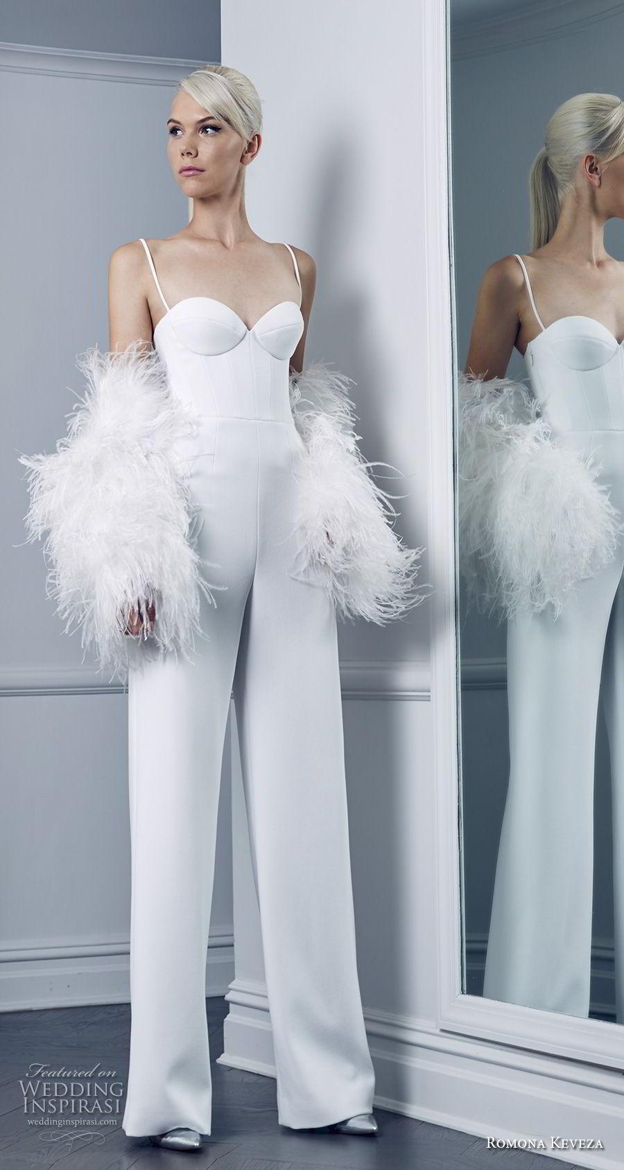 romona keveza fall 2018 bridal spaghetti strap sweetheart neckline buster bodice simple clean modern jumper wedding dress (10) mv