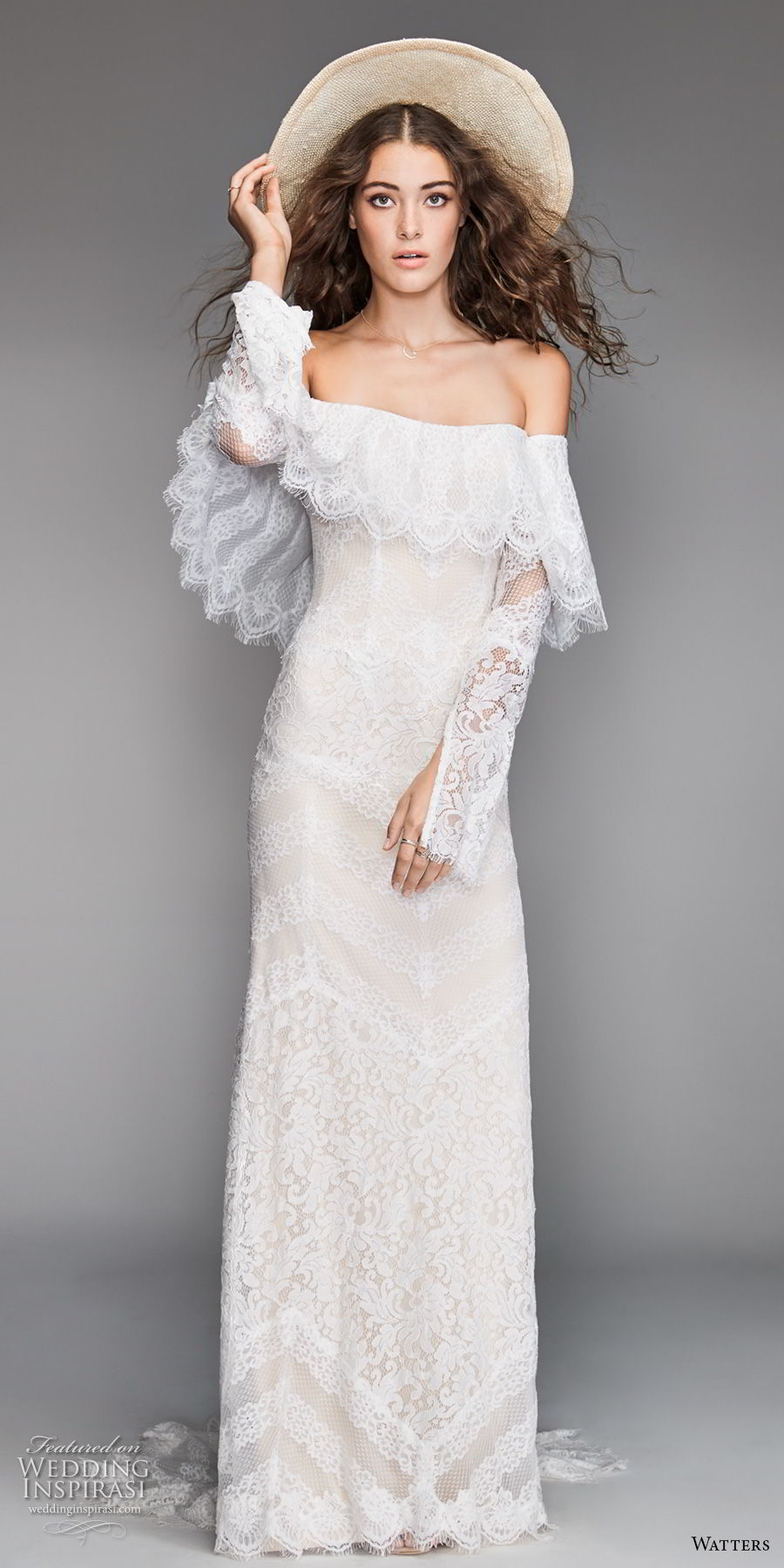 willow by watters spring 2018 long sleeves off the shoulder straight across neckline heavily embellished bodice bohemian fit and flare wedding dress sweep train (12) mv