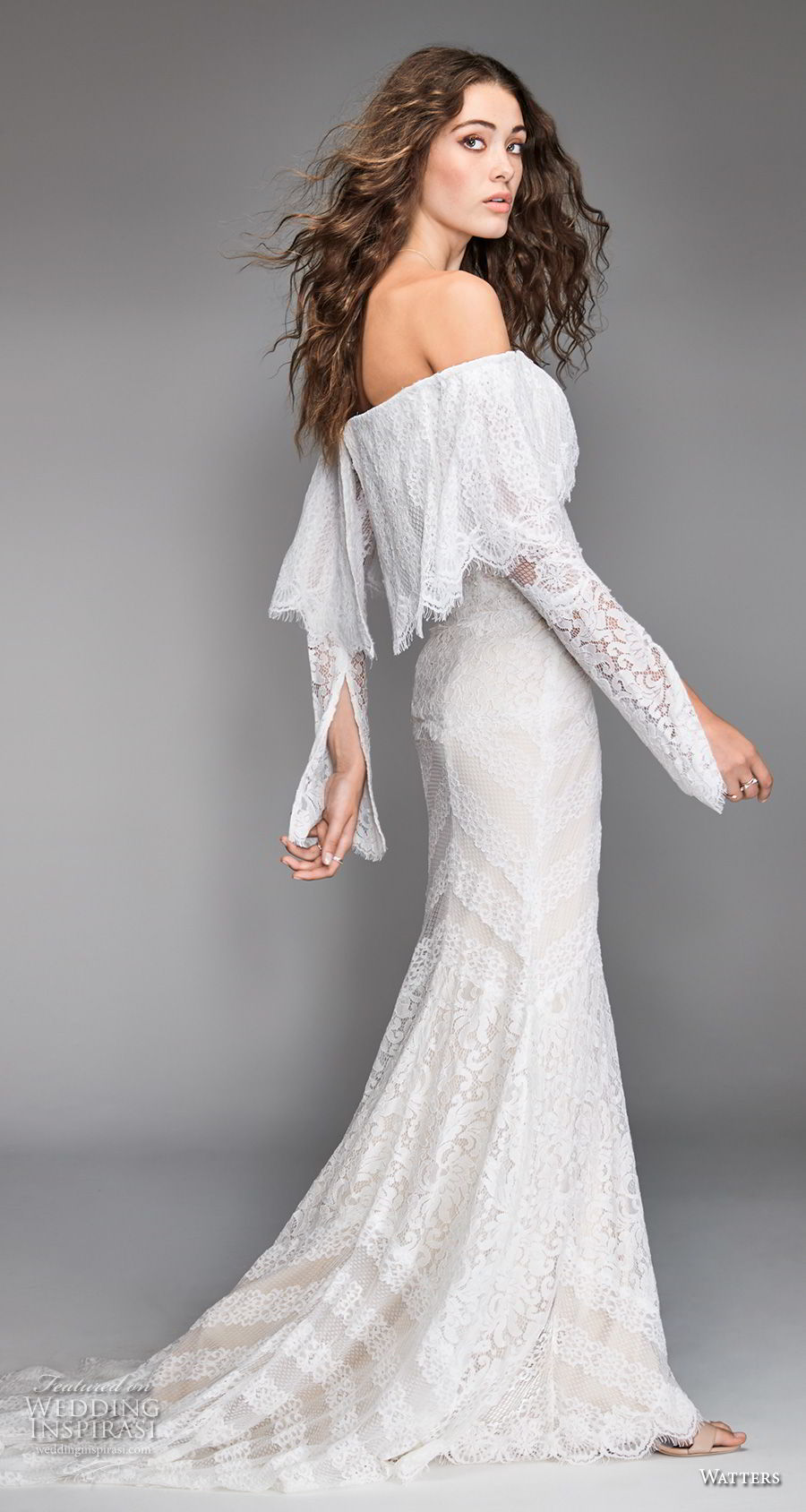 willow by watters spring 2018 long sleeves off the shoulder straight across neckline heavily embellished bodice bohemian fit and flare wedding dress sweep train (12) sdv