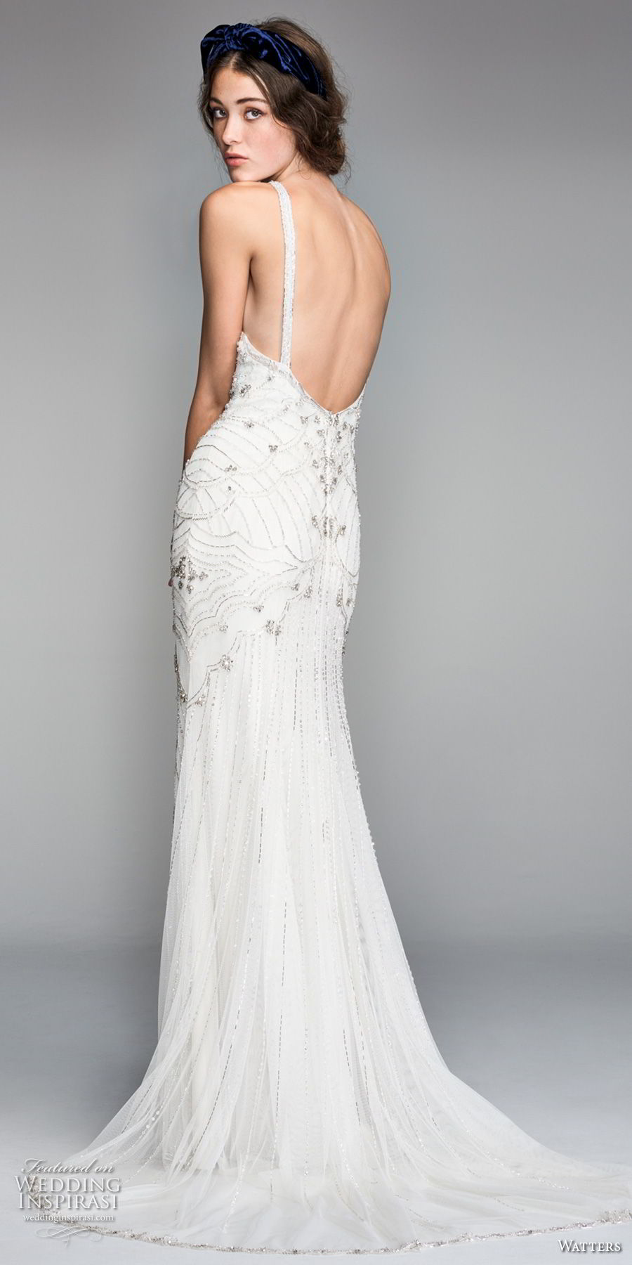 willow by watters spring 2018 sleeveless criss cross halter neckline heavily embellished bodice art deco elegant fit and flare wedding dress open back short train (9) bv