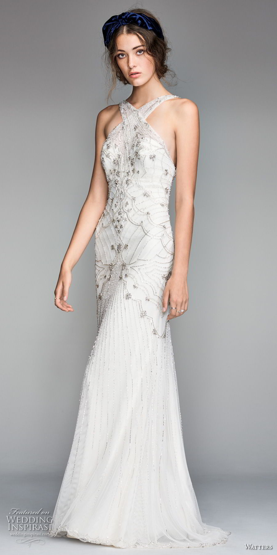 willow by watters spring 2018 sleeveless criss cross halter neckline heavily embellished bodice art deco elegant fit and flare wedding dress open back short train (9) mv